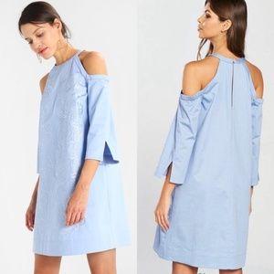 Ted Baker baby blue cold shoulder dress
